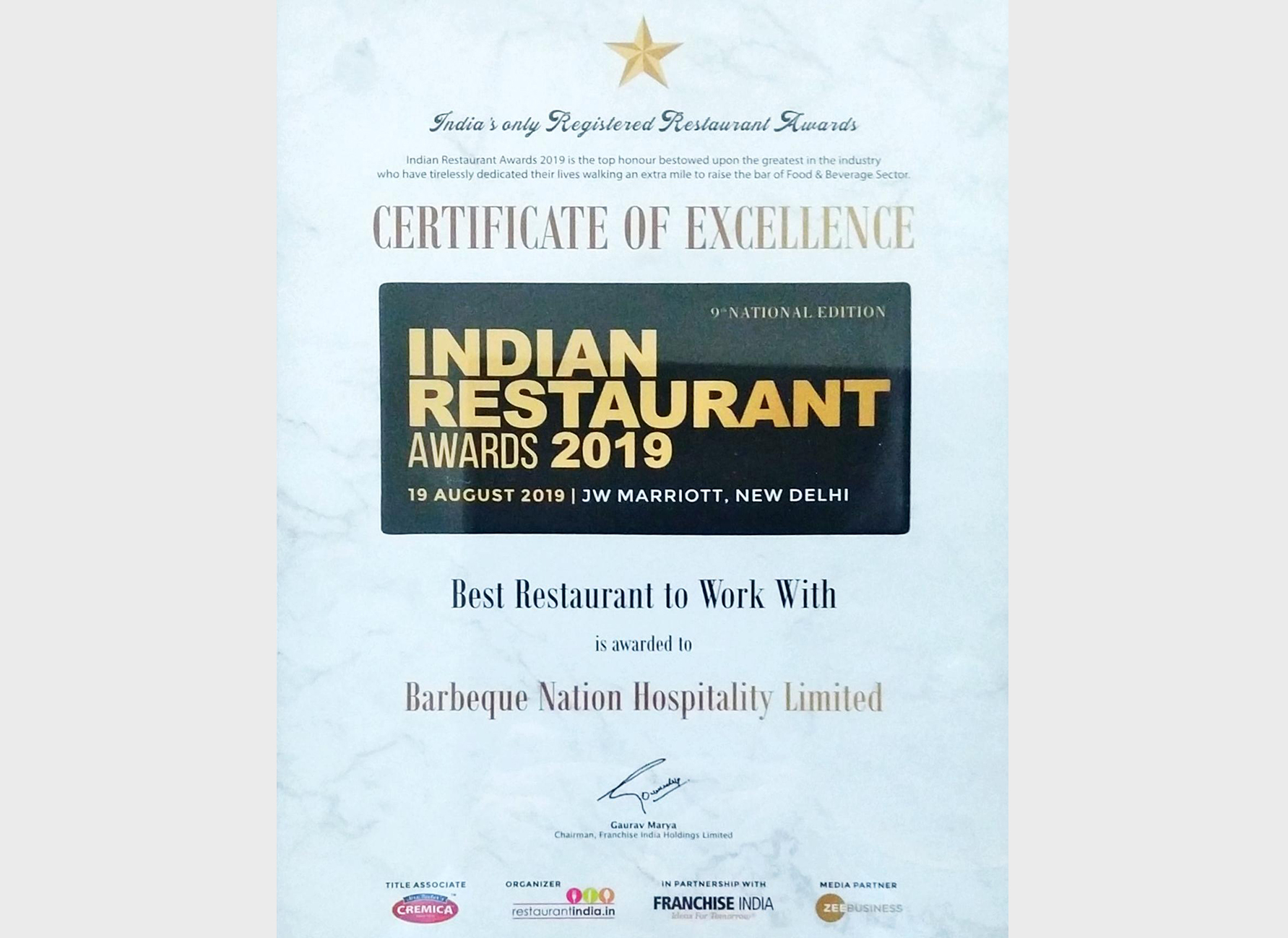 Indian Restaurant Award